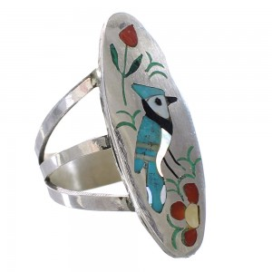 Multicolor Inlay Sterling Silver Blue Jay Zuni Ring Size 7 AX99630