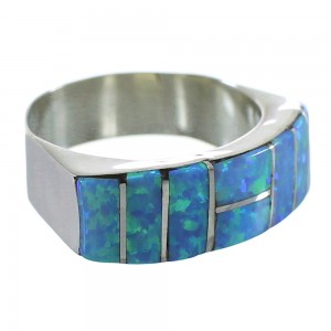 Sterling Silver Blue Opal Inlay Zuni Ring Size 7-3/4 AX99461