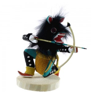Navajo Indian Turquoise Wolf Kachina Doll NX99421