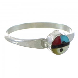 Sterling Silver Zuni Multicolor Sun Ring Size 5 AX99622