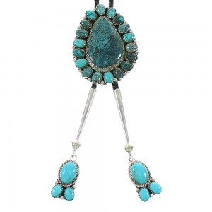 Turquoise Navajo Genuine Sterling Silver Bolo Tie AX99750