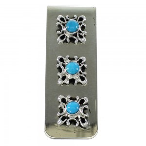 Turquoise Navajo Sterling Silver Money Clip AX99774