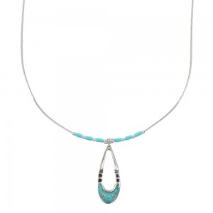 Turquoise Inlay And Genuine Liquid Sterling Silver Necklace AX99740