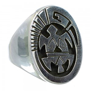 Turtle Water Wave Navajo Calvin Peterson Authentic Sterling Silver Ring Size 10-3/4 RX99679