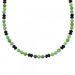 Onyx And Green Agate Sterling Silver American Indian Bead Necklace RX99881