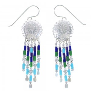 Sterling Silver Multicolor Concho Hook Earrings AX100023