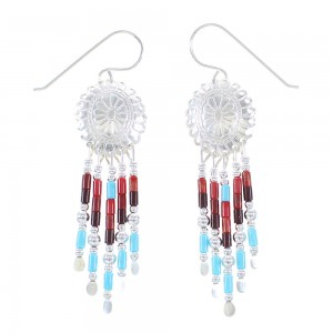 Genuine Sterling Silver Multicolor Concho Hook Earrings AX100024