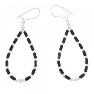 Onyx Sterling Silver Bead Hook Dangle Earrings AX100037