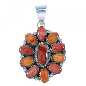 Navajo Indian Red And Orange Oyster Shell Sterling Silver Jewelry Pendant RX100279
