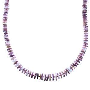 Purple Oyster Shell Sterling Silver Navajo Bead Necklace AX100259