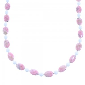 Rhodochrosite And White Agate Sterling Silver Navajo Bead Necklace AX100285