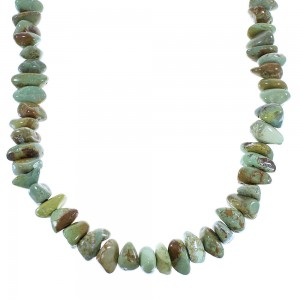 Southwest Turquoise Sterling Silver Bead Necklace AX100333