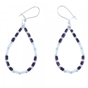 Purple Oyster Shell Mother Of Pearl Silver Navajo Bead Hook Dangle Earrings AX100365