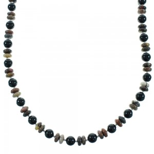 Onyx And Jasper Sterling Silver Navajo Bead Necklace AX100474