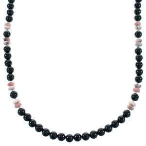 Onyx And Rhodochrosite Sterling Silver Navajo Bead Necklace AX100475