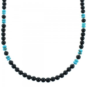 Onyx And Turquoise Sterling Silver American Indian Bead Necklace RX100495