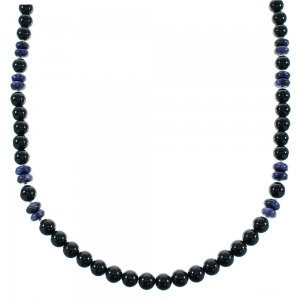Purple Agate And Onyx Authentic Sterling Silver Native American Bead Necklace RX100496