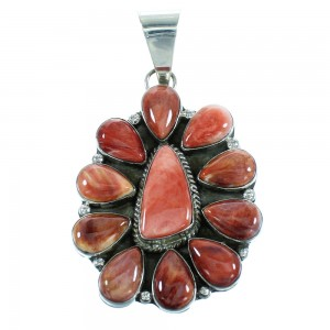 Red Oyster Shell Authentic Sterling Silver American Indian Pendant RX100584