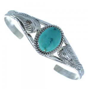 American Indian Sterling Silver And Turquoise Cuff Bracelet RX100873