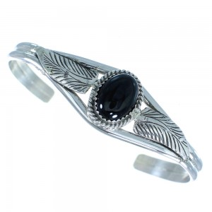 Sterling Silver And Onyx Leaf American Indian Jewelry Cuff Bracelet RX100879