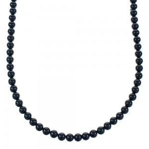 Sterling Silver Onyx Bead Necklace AX100851