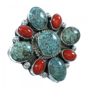#8 Turquoise And Coral Genuine Sterling Silver Navajo Ring Size 9-1/4 AX100822