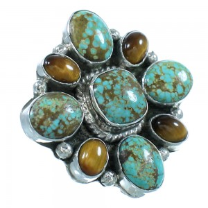 Native American #8 Turquoise And Tiger Eye Silver Ring Size 7-1/2 AX100834