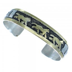 Navajo Horse Tommy And Rose Singer 12KGF Sterling Silver Cuff Bracelet AX100905