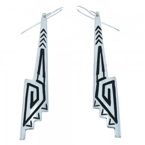 Sterling Silver Arrow And Water Wave Tommy And Rose Singer Navajo Hook Dangle Earrings AX101055