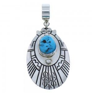 Turquoise Genuine Sterling Silver Tommy And Rose Singer Native American Pendant RX101158