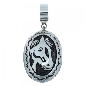 Genuine Sterling Silver Horse Tommy And Rose Singer Native American Pendant RX101599