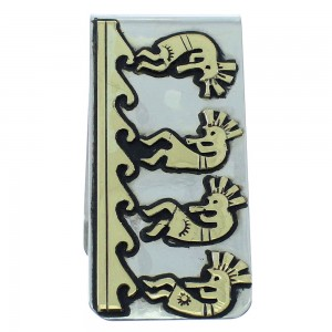 Kokopelli And Water Wave 12KGF Sterling Silver Tommy And Rose Singer Navajo Money Clip AX101184