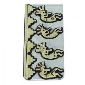 12KGF Sterling Silver Tommy And Rose Singer Kokopelli Navajo Money Clip AX101188