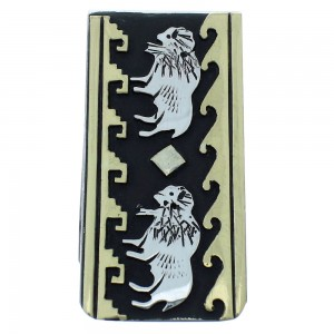 12KGF Sterling Silver Tommy And Rose Singer Buffalo And Water Wave Navajo Money Clip AX101190