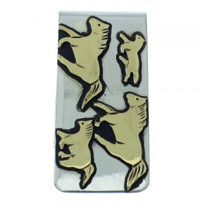 Horse Tommy And Rose Singer 12KGF Authentic Sterling Silver Native American Money Clip AX101201
