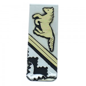 12KGF Sterling Silver Navajo Tommy And Rosita Singer Horse Money Clip AX101236