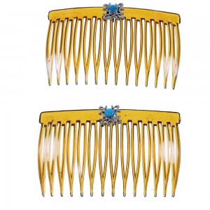 Authentic Sterling Silver And Turquoise Hair Combs RX101754