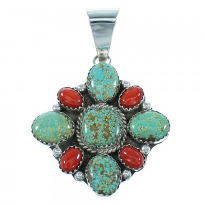 #8 Turquoise And Coral Navajo Sterling Silver Pendant RX101785