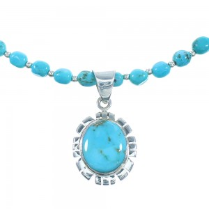 Southwest Turquoise Authentic Sterling Silver Bead Necklace Set RX101909