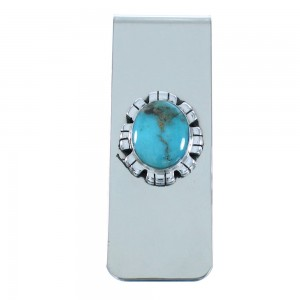 Genuine Sterling Silver Turquoise Money Clip AX102010