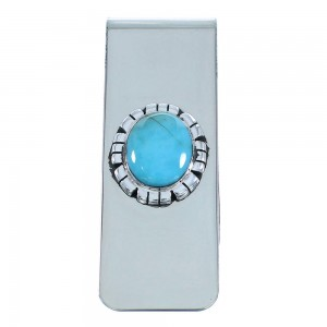 Silver Southwestern Turquoise Money Clip AX102013