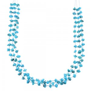 Liquid Silver 3-Strand Turquoise Bead Necklace AX102026
