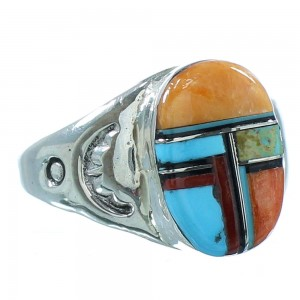 Native American Genuine Sterling Silver Multicolor Ring Size 11 AX101348