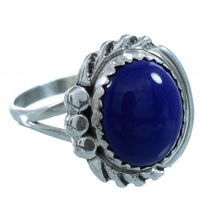 Lapis Sterling Silver Navajo Ring Size 5-3/4 AX101543