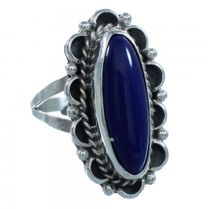Lapis Genuine Sterling Silver Navajo Jewelry Ring Size 9-1/4 AX101550