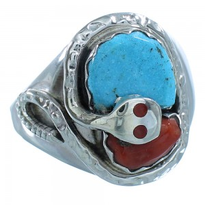 Silver Turquoise Coral Effie Calavaza Zuni Snake Ring Size 10-3/4 AX101452