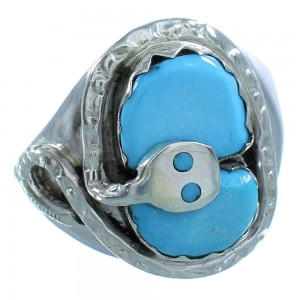 Effie Calavaza Sterling Silver Zuni Snake Turquoise Ring Size 10-3/4 RX108810