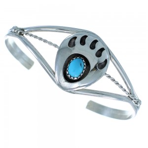 Turquoise Genuine Sterling Silver Bear Paw Navajo Bracelet AX101581