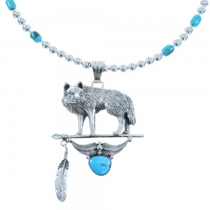 Silver Navajo Turquoise Wolf And Feather Bead Necklace Set AX101960