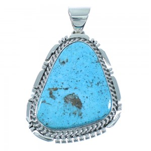 American Indian Silver Blue Ridge Turquoise Pendant AX101989